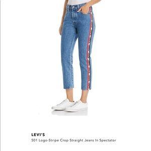 Levi's 501 Logo-Stripe Crop Straight Jeans Size 27